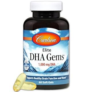 Carlson Labs, Elite DHA Gems, 1,000 mg, 60 Softgels