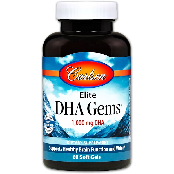 Carlson Labs, Elite DHA Gems, 1,000 mg, 60 Softgels (Discontinued Item)