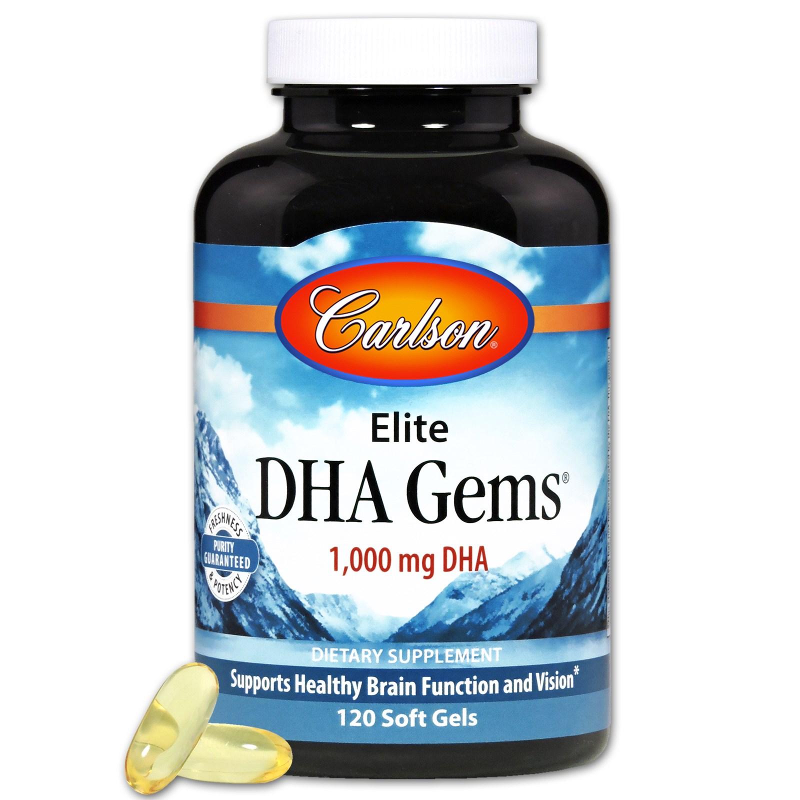 Carlson Labs, Элитные жемчужины докозагексаеновой кислоты, 1 000 мг, 120 мягких капсул