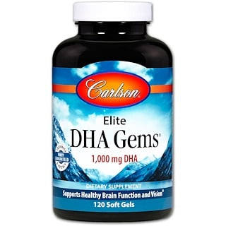 Carlson Labs, Elite DHA Gems, 1,000 mg, 120 Softgels