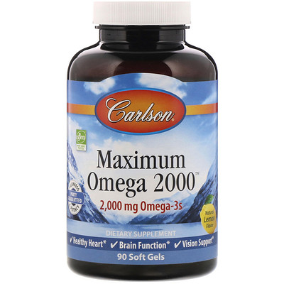 Купить Carlson Labs Максимум Омега 2000, Натуральный вкус лимона, 2 000 мг, 90 мягких таблетки