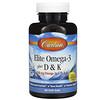 Carlson Labs, Elite Omega-3 Plus D & K, Natural Lemon Flavor, 60 Soft Gels