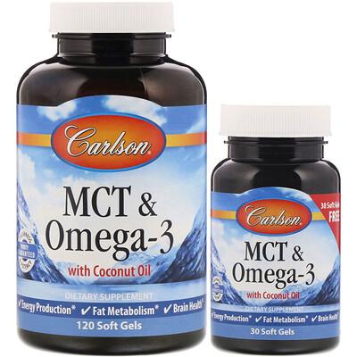 Купить Carlson Labs Среднецепочечные триглицериды и омега-3, 120 мягких таблеток + 30 таблеток в подарок