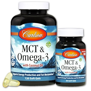 Carlson Labs, MCT & Omega-3, 120 Soft Gels + 30 Soft Gels