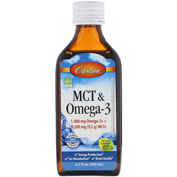 MCT & Omega-3, Natural Lemon Lime, 6.7 fl oz (200 ml)