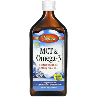 Carlson Labs, MCT & Omega-3, Natural Lemon Lime, 16.9 fl oz (500 ml)