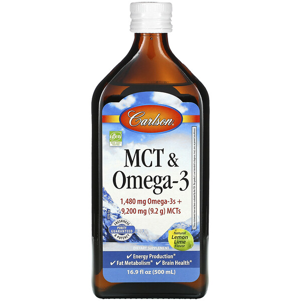 MCT & Omega-3, Natural Lemon Lime, 16.9 fl oz (500 ml)