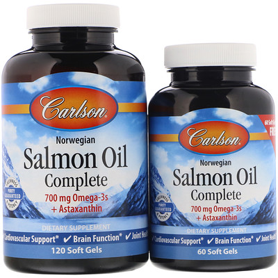 Купить Carlson Labs Жир норвежского лосося, 120 мягких желатиновых капсул + 60 капсул в подарок