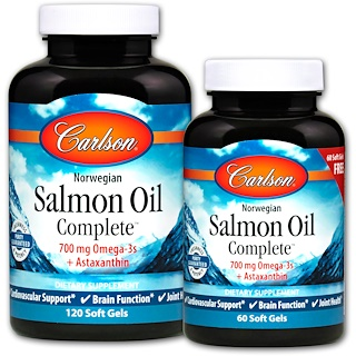 Carlson Labs, Norwegian Salmon Oil Complete, 120 + 60 Free Soft Gels