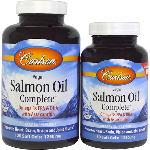 Carlson Labs, Рыбий жир из норвежского лосося Salmon Oil Complete, 120 капсул в мягкой оболочке + 60 капсул бесплатно