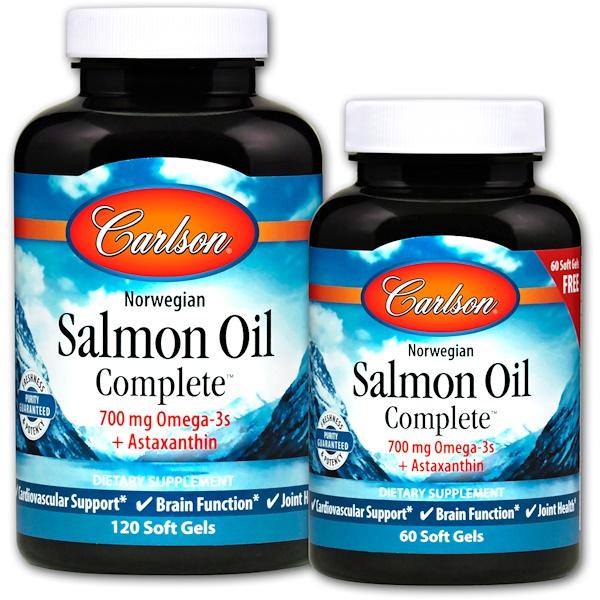 Carlson Labs, Полноценный норвежский лососевый жир Salmon Oil Complete, 120 мягких таблеток + 60 таблеток бесплатно