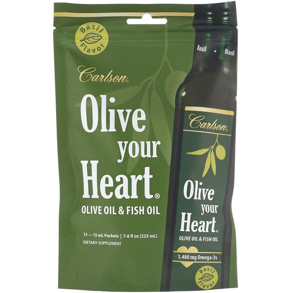 Carlson Labs, Olive Your Heart, Olive Oil & Fish Oil, Basil, 15 Packets, 15 ml Each (Discontinued Item)