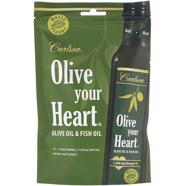Carlson Labs, Olive Your Heart, Olive Oil & Fish Oil, Basil Flavor, 1,480 mg, 15 Packets, 15 ml Each (Discontinued Item)