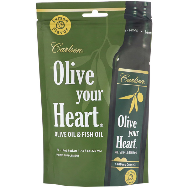 Carlson Labs, Olive Your Heart, Olive Oil & Fish Oil, Lemon, 15 Packets, 15 ml Each (Discontinued Item)