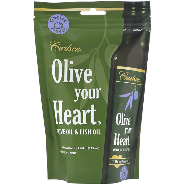 Carlson Labs, Olive Your Heart, Olive Oil & Fish Oil, Garlic, 15 Packets, 15 ml Each (Discontinued Item)