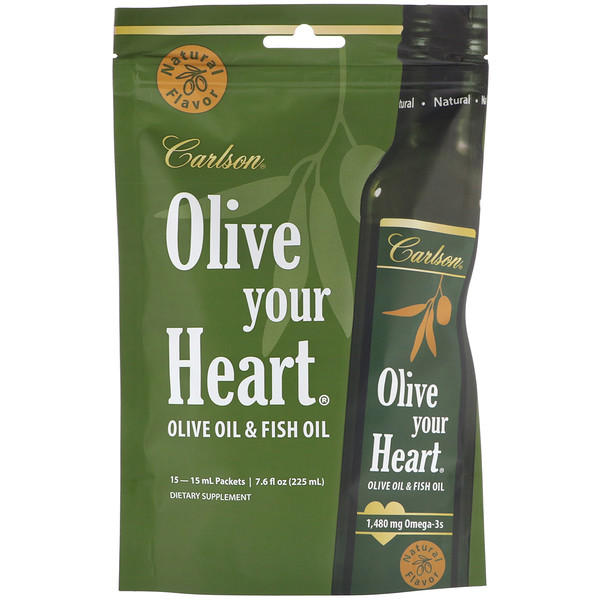 Carlson Labs, Olive Your Heart, Olive Oil & Fish Oil, Natural, 15 Packets, 15 ml Each (Discontinued Item)