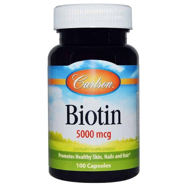 Carlson Labs, Biotin, 5000 mcg, 100 Capsules (Discontinued Item)