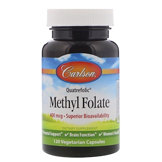 Carlson Labs, Methyl Folate, 400 mcg, 120 Vegetarian Capsules
