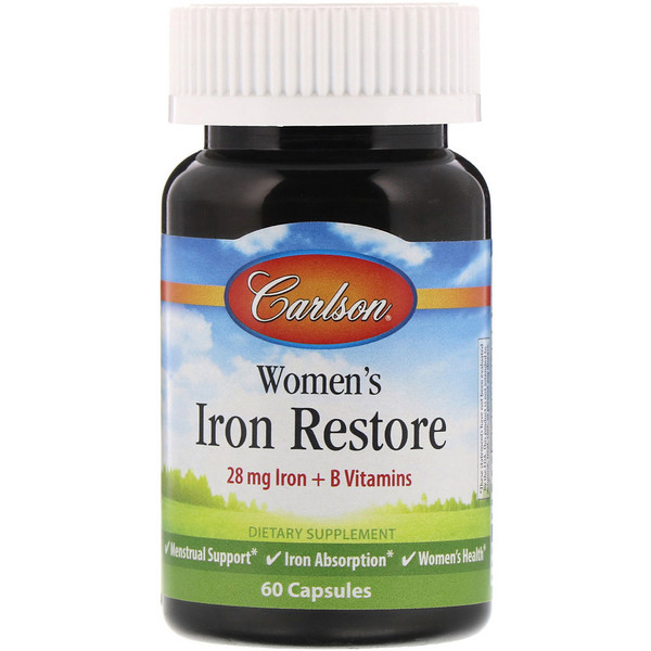 Carlson Labs, Womens Iron Restore, 28 mg Iron + B Vitamins, 60 Capsules (Discontinued Item)