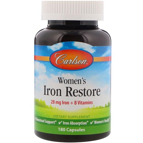 Carlson Labs, Women's Iron Restore, 28 mg Iron + B Vitamins, 180 Capsules