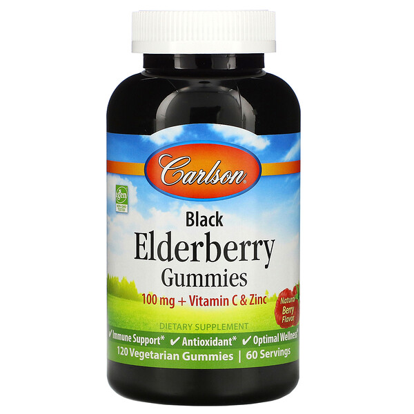Carlson Labs, Black Elderberry Gummies + Vitamin C & Zinc, Natural Berry, 100 mg, 120 Vegetarian Gummies