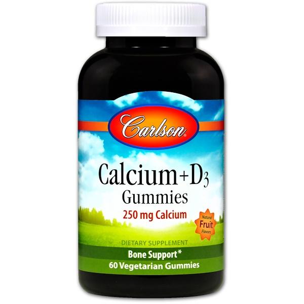 Carlson Labs, Calcium + D3 Gummies, Natural Fruit Flavors, 60 Veggie Gummies (Discontinued Item)