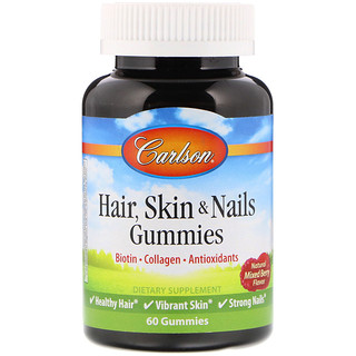 Carlson Labs, Hair Skin & Nails, Natural Mixed Berry Flavor, 60 Gummies
