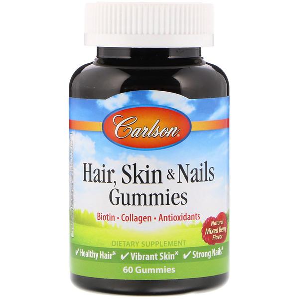 Carlson Labs, Hair Skin & Nails, Natural Mixed Berry Flavor, 60 Gummies (Discontinued Item)