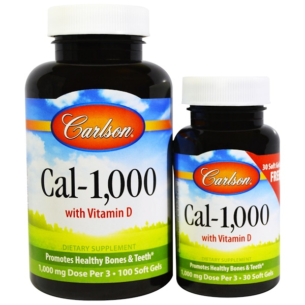 Carlson Labs, Cal-1,000, 100 Soft Gels + Free 30 Soft Gels (Discontinued Item)
