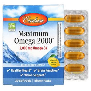 Carlson Labs, Maximum Omega 2000, Natural Lemon Flavor, 1,000 mg, 30 Softgels