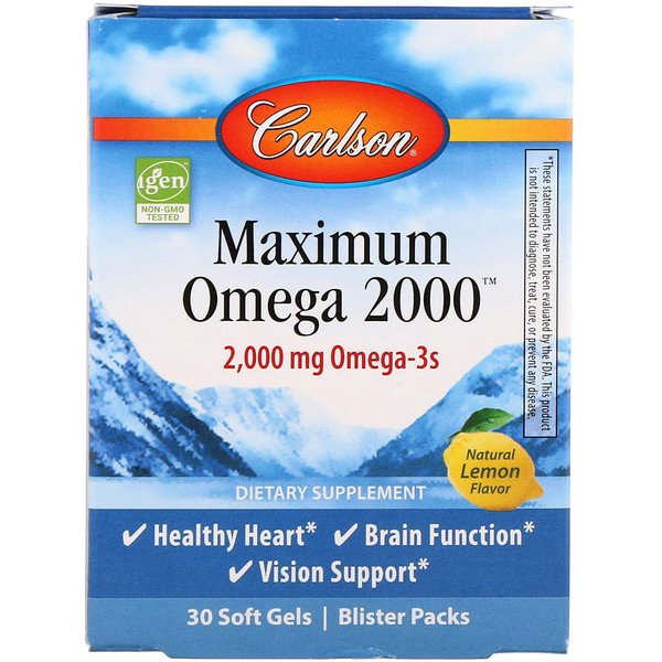 Carlson Labs, Maximum Omega 2000, Natural Lemon, 2,000 mg, 30 Softgels