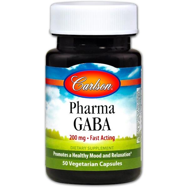 Carlson Labs, Pharma GABA, 200 мг, 50 капсул растительного происхождения