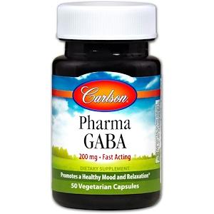 Карлсон Лэбс, Pharma GABA, 200 mg, 50 Vegetarian Capsules отзывы