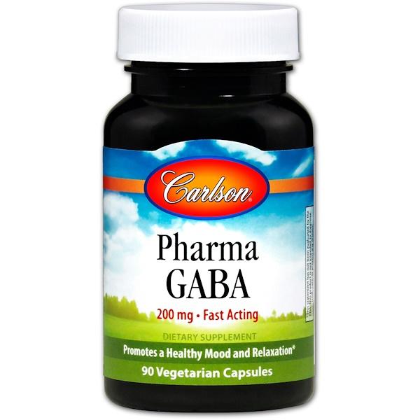 Carlson Labs, Pharma γ-氨基丁酸,200毫克,90粒素食膠囊