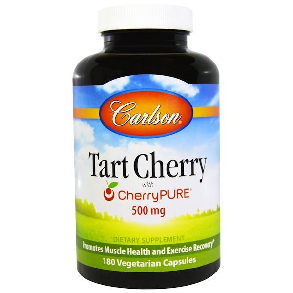 Carlson Labs, Tart Cherry, 500 mg, 180 Veggie Caps (Discontinued Item)
