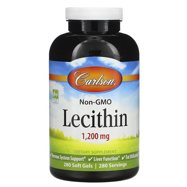 Carlson Labs, レシチン、1,200mg、ソフtゲル280個