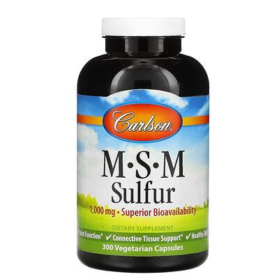 Купить Carlson Labs MSM Sulfur, 1000 мг, 300 вегетарианских капсул