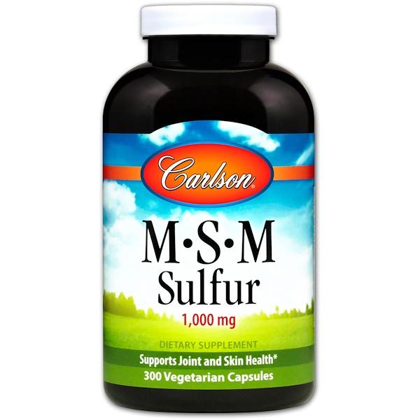 Carlson Labs, MSM硫,1000毫克,300粒素食膠囊