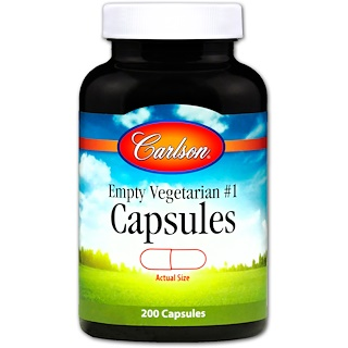 Carlson Labs, الكبسولة النباتية الفارغة # 1، 200 كبسولة
