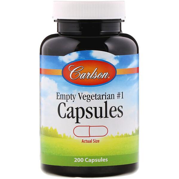 Carlson Labs, Cápsulas Vegetarianas Vazias, nº1, 200 Cápsulas