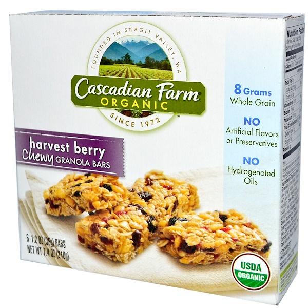 Cascadian Farm, Органические, жевательные батончики-гранола, урожай ягод, 6 батончиков, по 1,2 унции (35 г) каждый