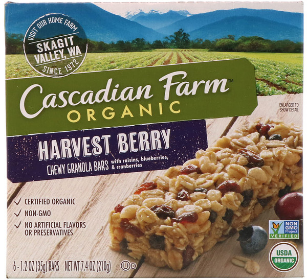 Cascadian Farm, Organic, Chewy Granola Bars, Harvest Berry, 6 Bars, 1.2 oz (35 g) Each
