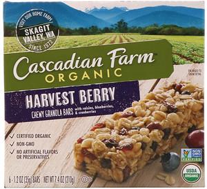 Каскадиан Фарм, Organic, Chewy Granola Bars, Harvest Berry, 6 Bars, 1.2 oz (35 g) Each отзывы покупателей