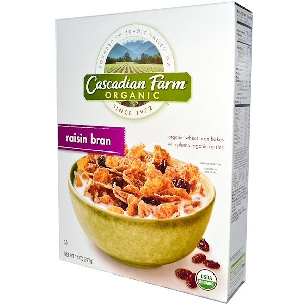 Cascadian Farm, Organic Wheat Bran Flakes, Raisin Bran, 14 oz (397 g) (Discontinued Item)