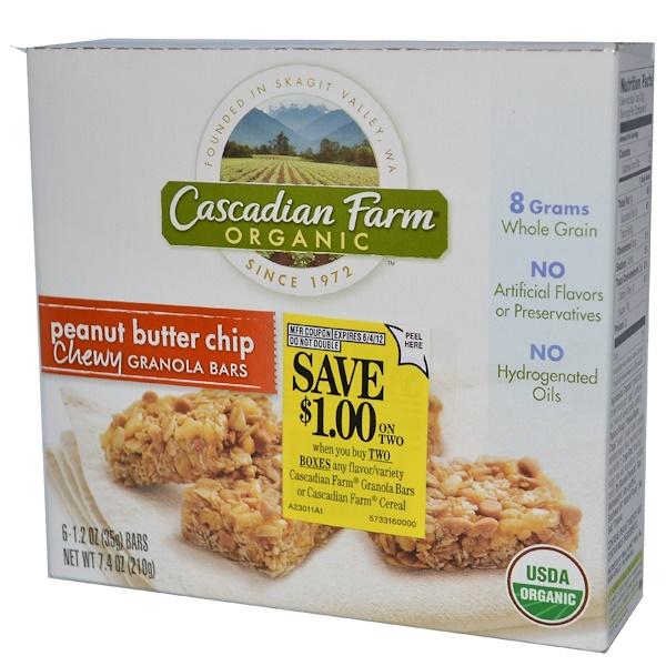 Cascadian Farm, Organic Chewy Granola Bars, Peanut Butter Chip, 6 Bars, 1.2 oz (35 g) Each (Discontinued Item)