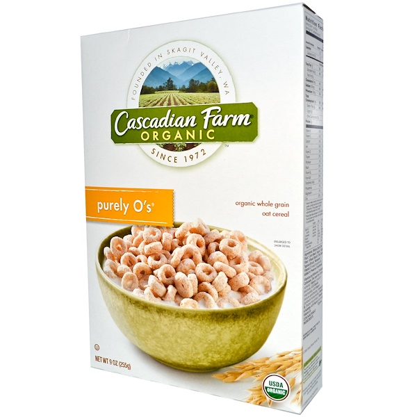Cascadian Farm, Organic, Purely O's, Whole Grain Oat and Barley Cereal, 9 oz (255 g) (Discontinued Item)
