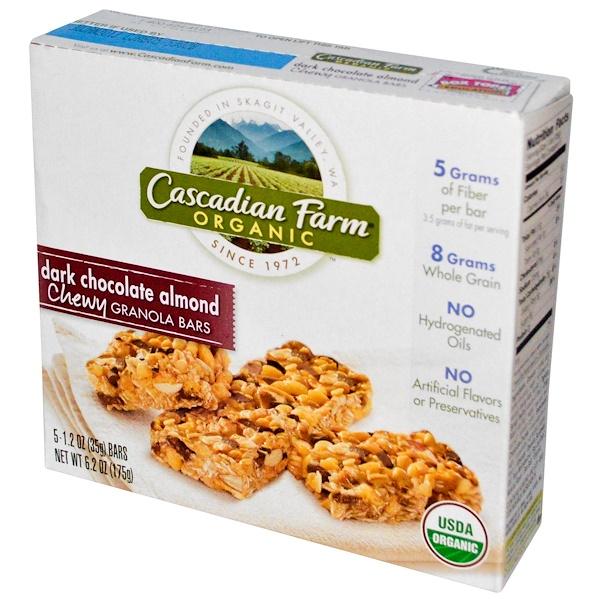 Cascadian Farm, Органические жевательные батончики из мюсли, темный шоколад и миндаль, 5 батончиков, 1.2 унции (35 г) каждый (Discontinued Item)