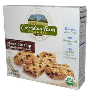 Cascadian Farm, Organic Chewy Granola Bars, Chocolate Chip, 6 Bars, 1.2 oz (35 g) Each