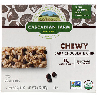 Cascadian Farm, Organic Chewy Granola Bars, Dark Chocolate Chip, 6 Bars, 1.2 oz (35 g) Each