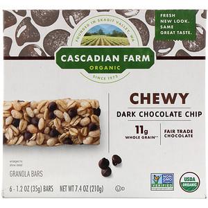 Каскадиан Фарм, Organic Chewy Granola Bars, Dark Chocolate Chip, 6 Bars, 1.2 oz (35 g) Each отзывы покупателей